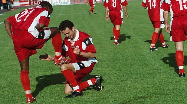 Мукаси и Брито празнуват гол срещу Левски