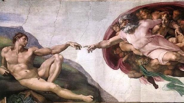 бог, човек,микеланджело