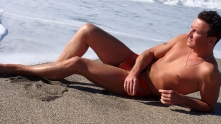 мъж, плаж, гларус
