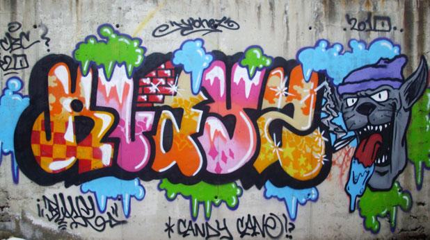 графити, сняг