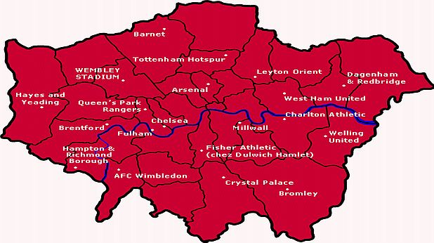 Карта на футболните клубове в Лондон
