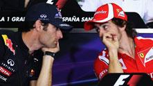 Фернандо Алонсо и Марк Уебър преди Гран при на Испания