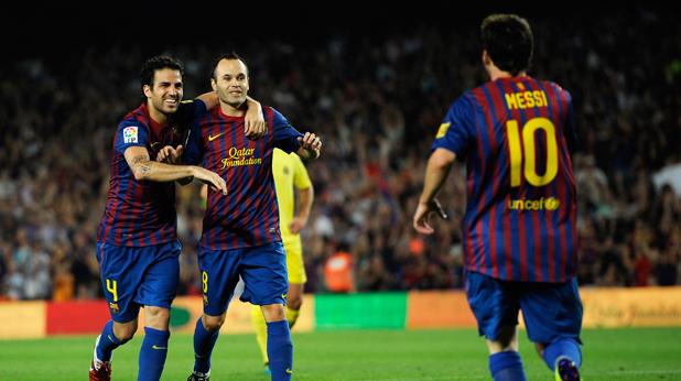 Радостта на Барселона по време на мача с Виляреал