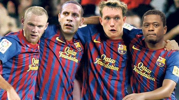 """Уейн Рууни, Рио Фърдинанд, Фил Джоунс и Патрис Евра от Манчестър Юнайтед, облечени в екипи на Барселона в колаж на вестник """"The Sun"""""""