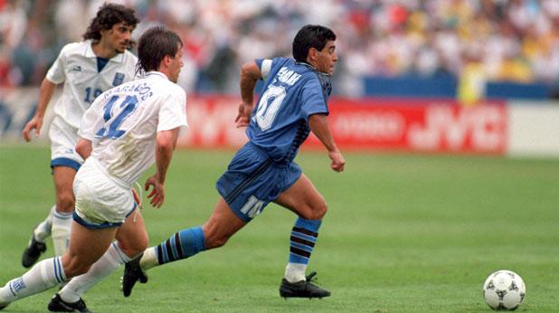 Диего Марадона се разписа при победата на Аржентина над Гърция в на Световното в САЩ през 1994