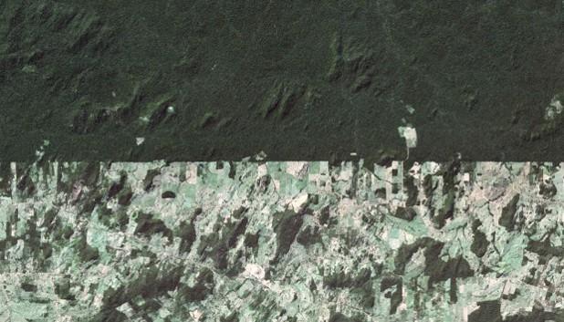 Границата между полята и горите в Западна Бразилия, гугъл