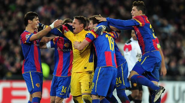 Радостта на Базел след победата над Манчестър Юнайтед
