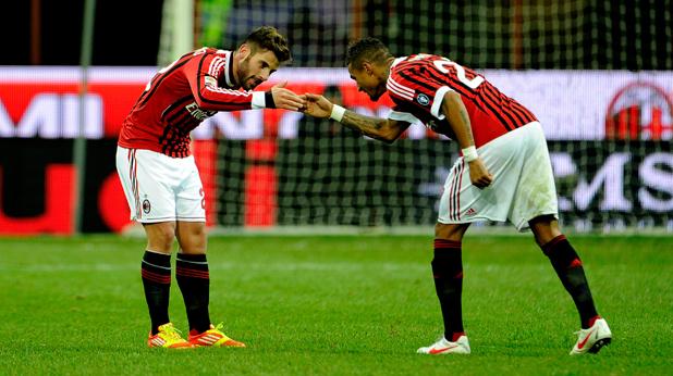 Ночерино и Боатенг се радват след гола на първия срещу Сиена