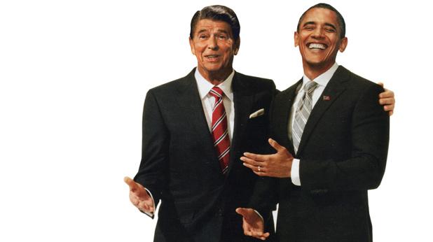 Роналд Рейгън и Барак Обама