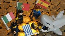 еврозона, флаг, гърция, португалия, испания, италия
