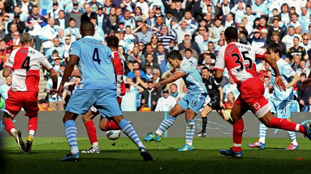 Серхио Агуеро бележи за 3:2 в 94-ата минута на мача Манчестър Сити - Куинс Парк на 13 май 2011, правейки резултата 3:2 и отбора си шампион на Висшата лига