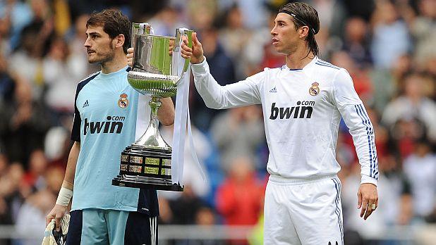 Икер Касияс, Серхио Рамос, Реал (Мадрид), шампиони, Примера дивисион, Испания, сезон 2011/12, купа