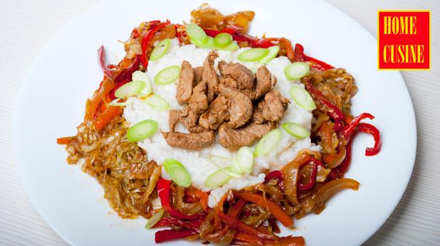свинско с ориз и зеленчуци в азиатски стил