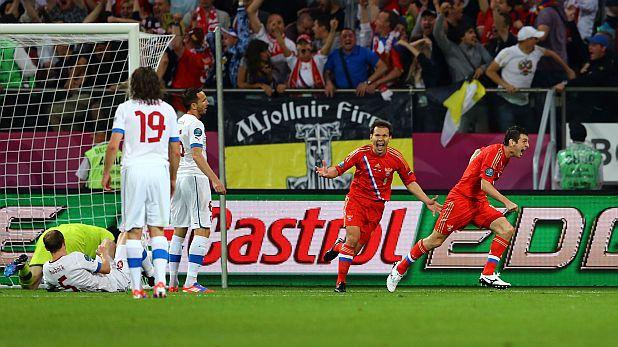 Алан Дзагоев вкара два гола за Русия при победата с 4:1 над Чехия в груповата фаза на Евро 2012