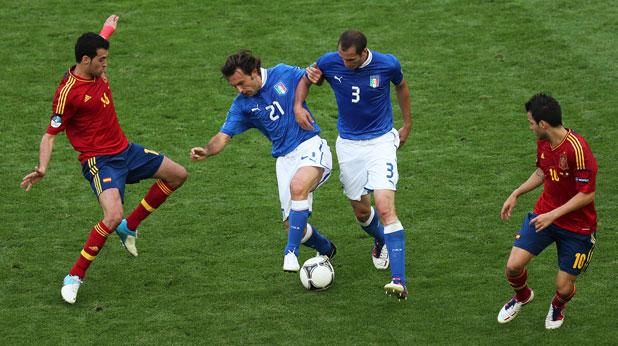 Андреа Пирло, Джорджо Киелини, Италия, Франсеск Фабрегас, Испания, Евро 2012