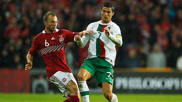 Кристиано Роналдо отбеляза почетния гол при загубата на Португалия с 1:2 в гостуване на Дания в квалификация за Евро 2012