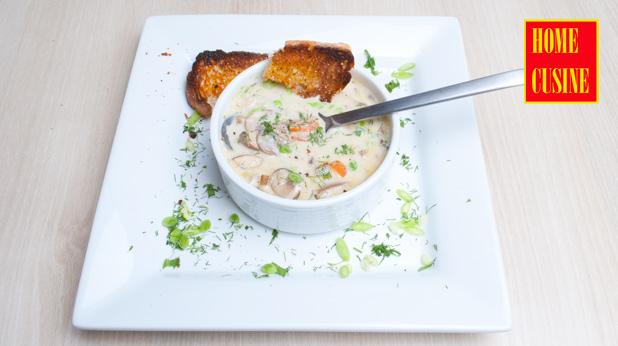 свежа гъбена супа с ориз и манатарки