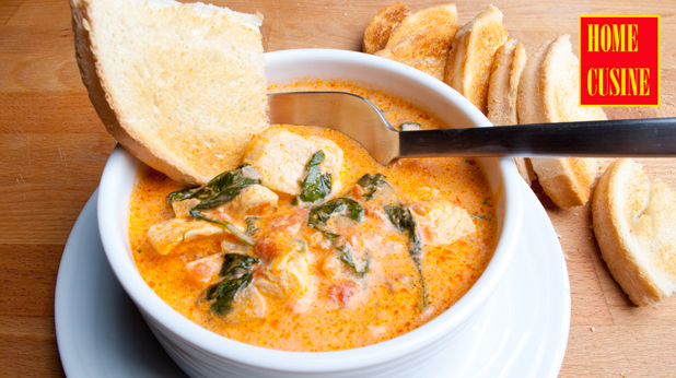 супа с пиле, бейби спанак и сметана