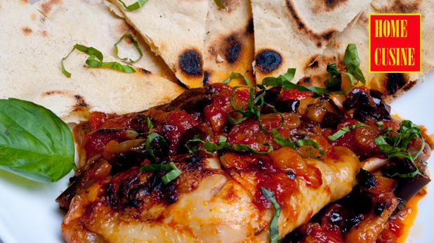 пиле с патладжан и домати на фурна