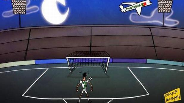 Кристиано Роналдо, карикатура, дузпа, Испания, Португалия, Евро 2012