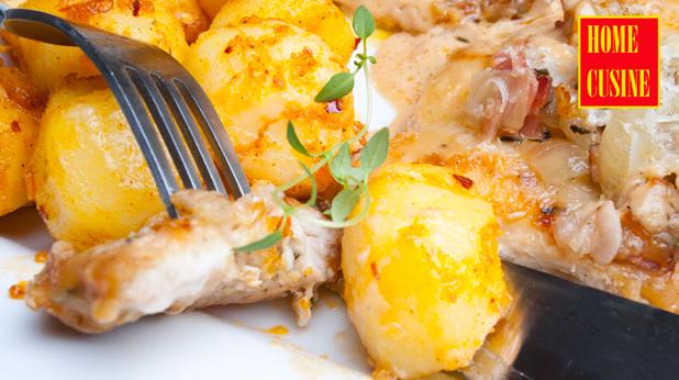 пиле в марсала сос, бекон и сметана