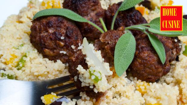 кюфтенца с патладжан и кус кус със зеленчуци