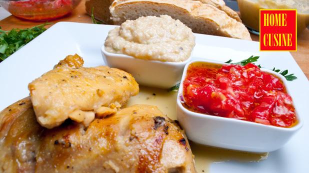 пиле с медена глазура и пастет от зрял боб