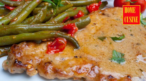 свинско с чеснов сос и гарнитура от зелен фасул