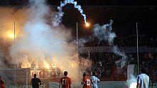 Агитката на ЦСКА устрои канонада на Градския стадион в Ловеч на 11 август 2012 след късния гол, донесъл победата на Литекс с 1:0