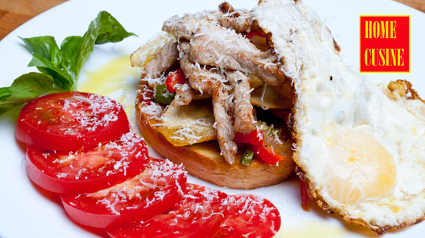 сандвич със свинско и зеленчуци