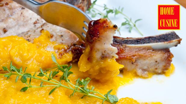 свински котлети с пюре от зеленчуци