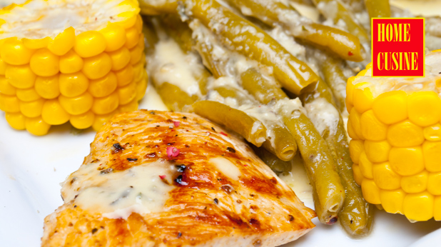 пиле на скара с цитрусов сос, зелен фасул и царевица