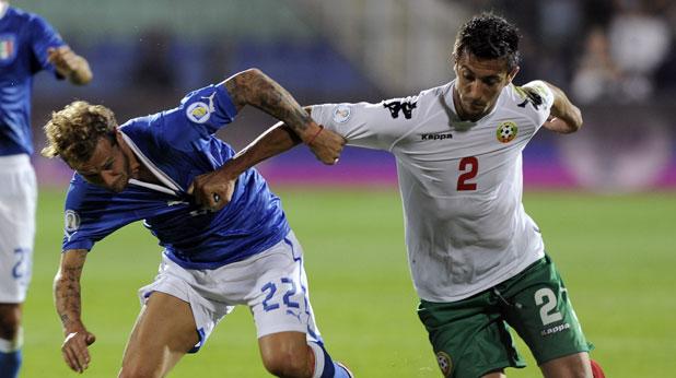 Станислав Манолев откри резултата в мача България - Италия (2:2), квалификация за Мондиал 2014, играна на 7 септември 2012