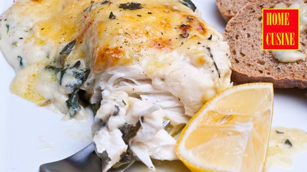маслена риба със спанак и сос бешамел