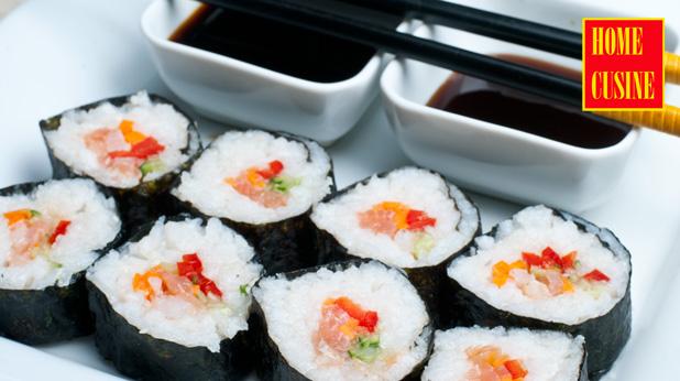 домашно суши със сьомга и скариди