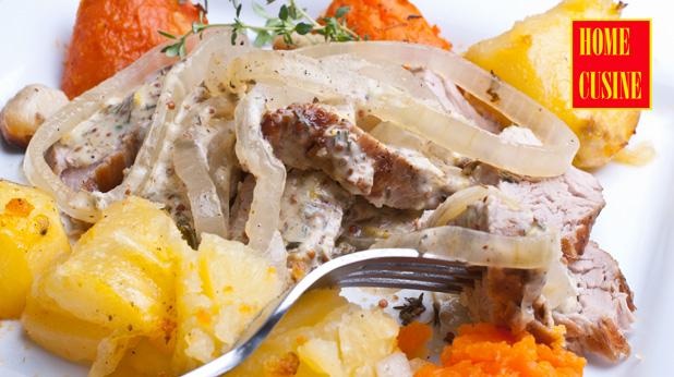 свинско бонфиле с два вида картофи