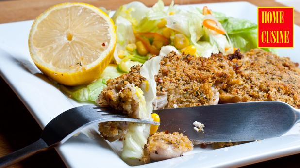 пилешко филе с коричка от трохи и пармезан