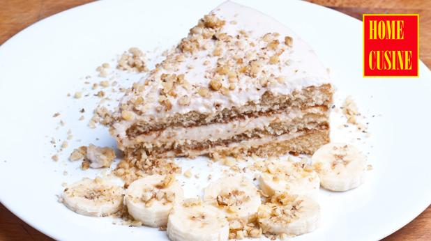 свежа торта с крема сирене и банани