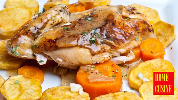 печено пиле с лимони зеленчуци