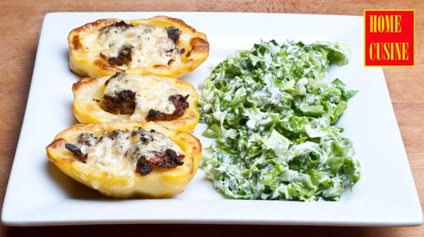 пълнени картофи с праз и зеленчуци