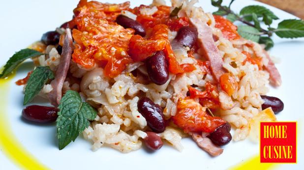 ориз с червен боб и бекон на фурна