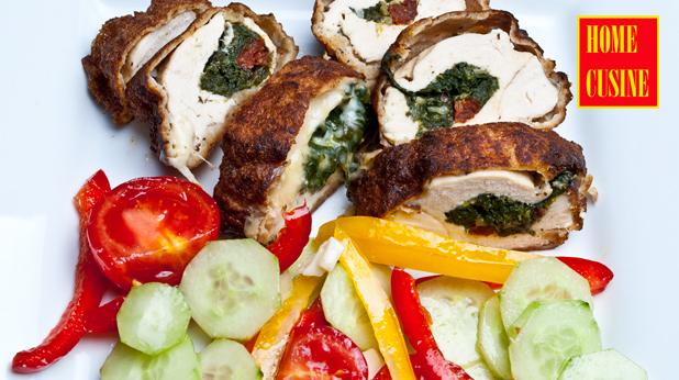 пилешки гърди с плънка от спанак и моцарела