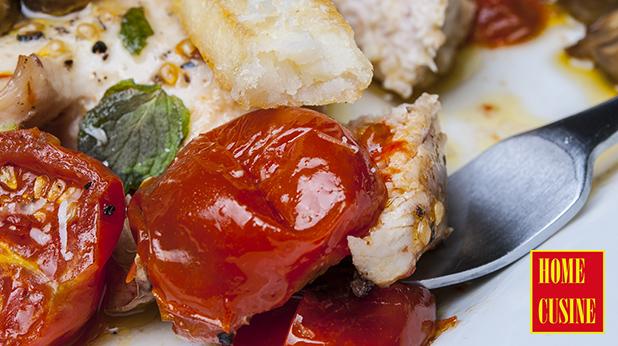 пиле с чери домати и гъби