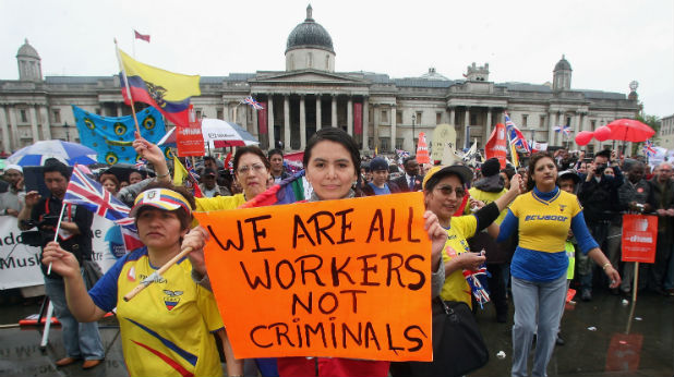 Протест на имигранти във Великобритания