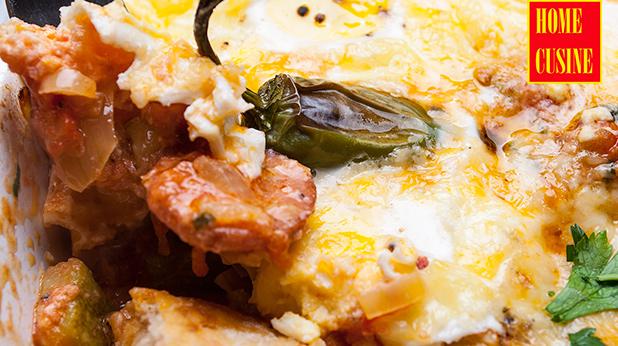 печени яйца с домати и чорисо