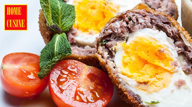 панирани яйца с дип от бял боб