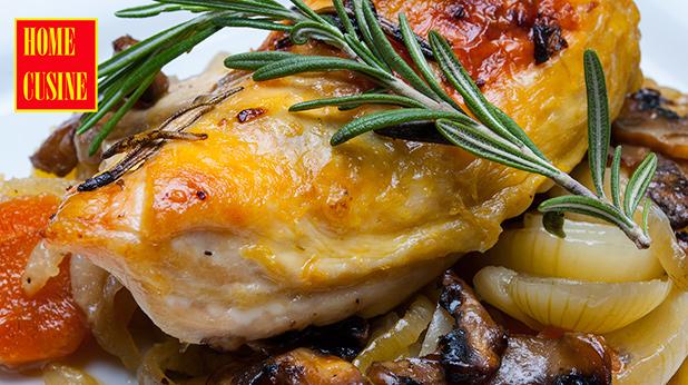чесново пиле с розмарин и зеленчуци на фурна
