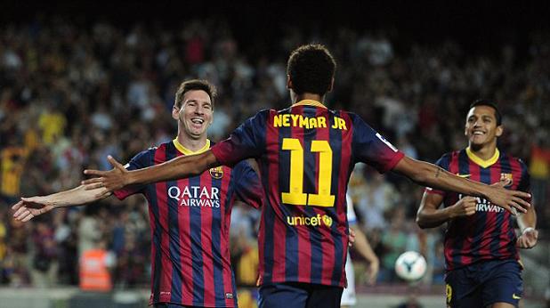 Меси и Неймар след гол за Барса срещу Реал Сосиедад