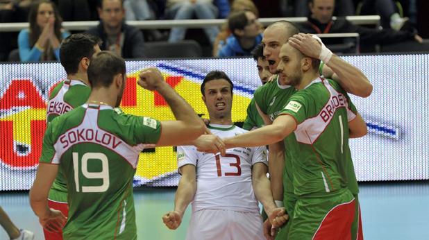 Волейболистите се радват на победата над Германия, Евро 2013