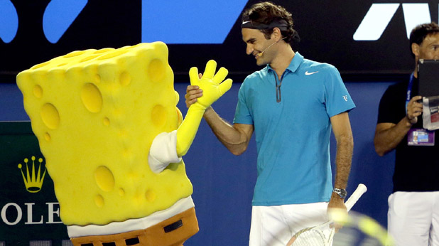 Федерер с талисмана Гъбата Боб